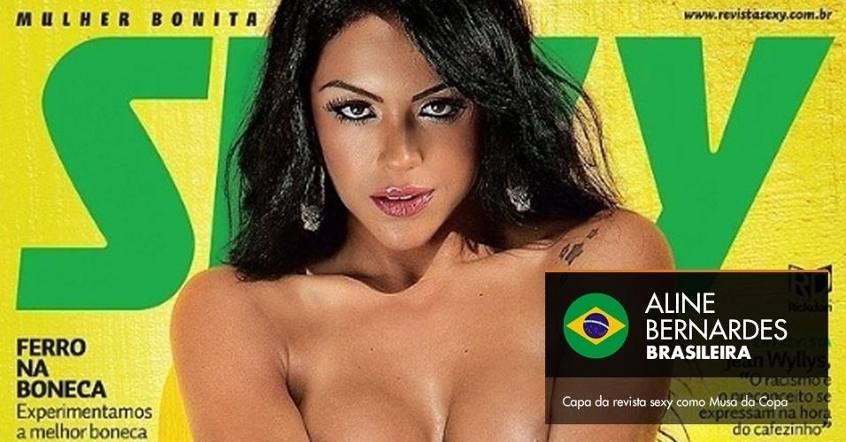 Aline Bernardes - Capa da revista sexy como Musa da Copa