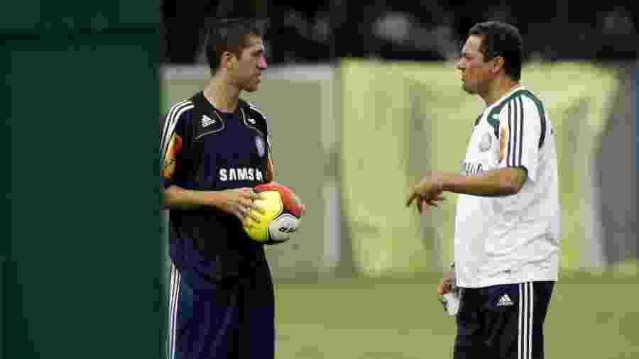 Vanderlei Luxemburgo orienta Evandro em treino do Palmeiras em 2009 - Rubens Cavallari/Folha Imagem