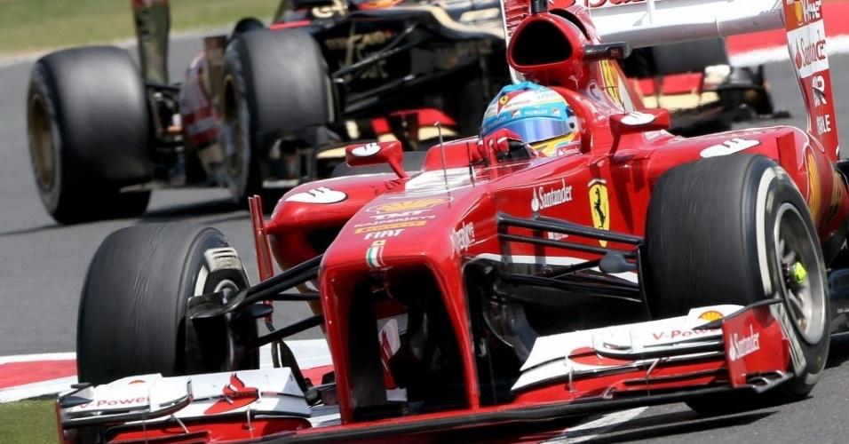 30.jun.2013 - Fernando Alonso teve bom desempenho no GP da Inglaterra e foi o terceiro colocado em Silverstone