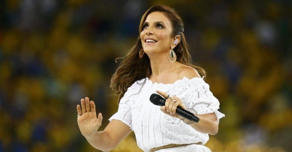 30.jun.2013 - Ivete Sangalo se apresenta na festa de encerramento da Copa das Confederações no Maracanã