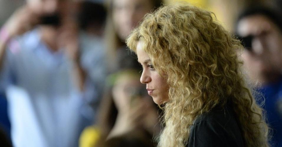 30.jun.2013 - Shakira esteve presente no Maracanã para a final da Copa das Confederações entre Brasil e Espanha. A cantora colombiana é namorada do zagueiro espanhol Piqué