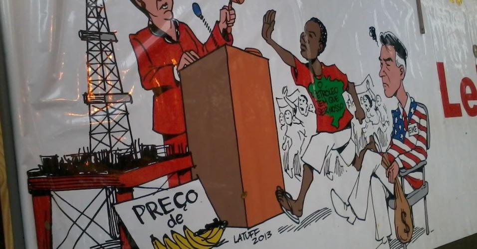 Charge ampliada do Latuff criticando a privatização do Maracanã