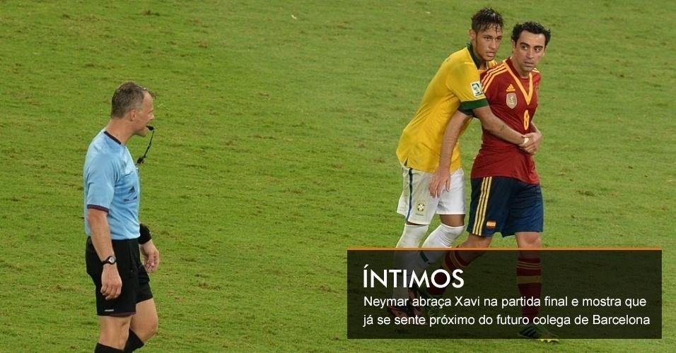 Neymar abraça Xavi na partida final e mostra que já se sente próximo do futuro colega de Barcelona