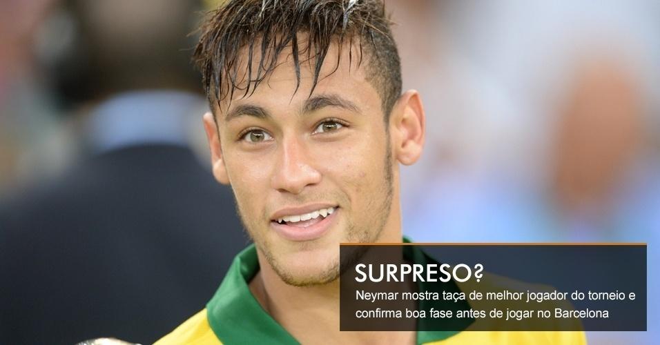 Neymar mostra taça de melhor jogador do torneio e confirma boa fase antes de jogar no Barcelona