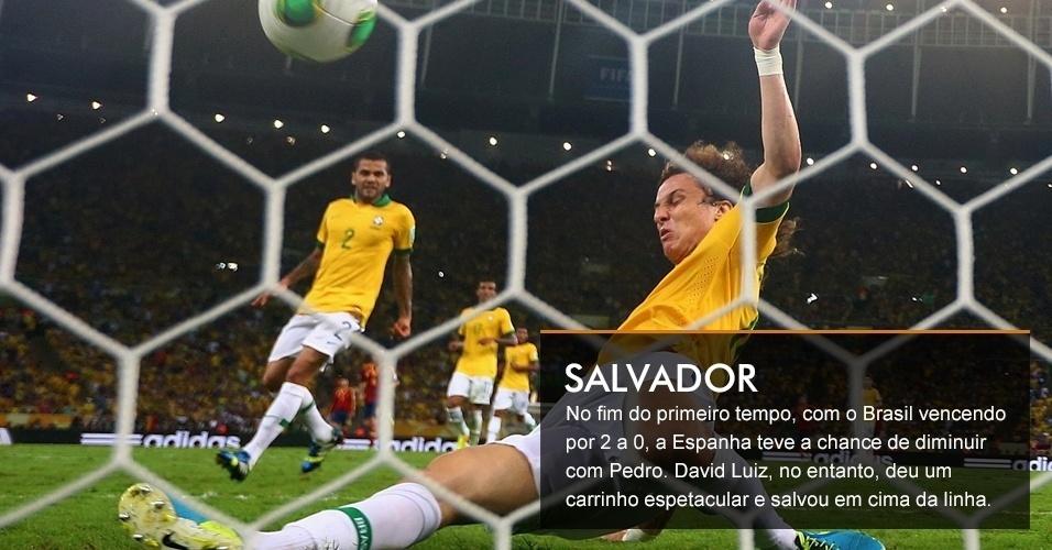 No fim do primeiro tempo, com o Brasil vencendo por 2 a 0, a Espanha teve a chance de diminuir com Pedro. David Luiz, no entanto, deu um carrinho espetacular e salvou em cima da linha.