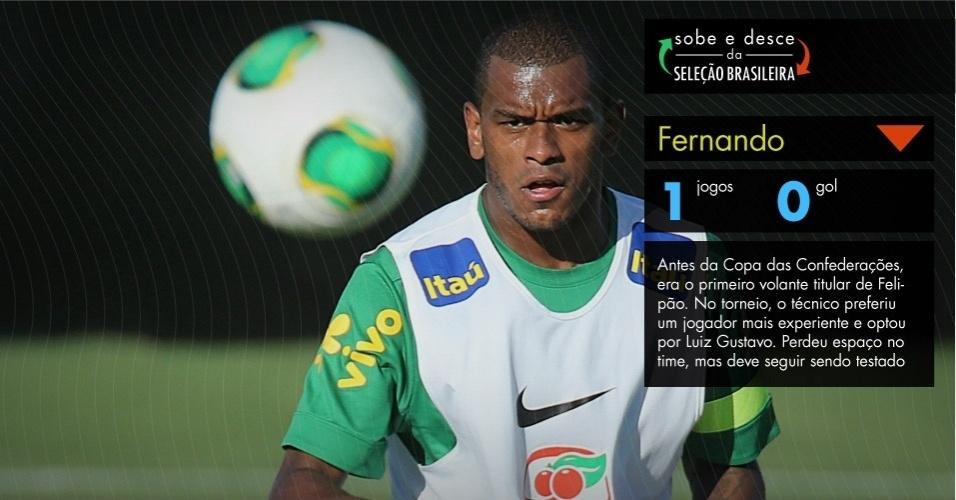Antes da Copa das Confederações, era o primeiro volante titular de Felipão. No torneio, o técnico preferiu um jogador mais experiente e optou por Luiz Gustavo. Perdeu espaço no time, mas deve seguir sendo testado.