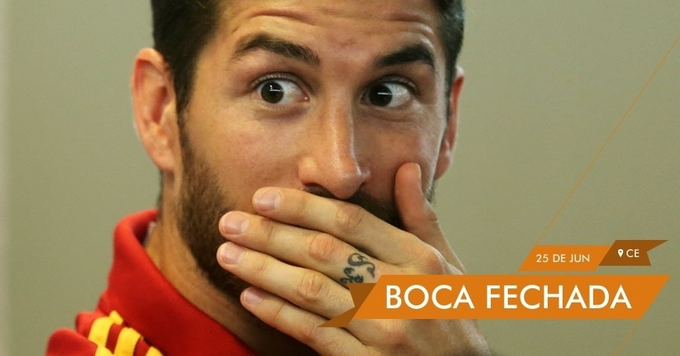 BOCA FECHADA Sérgio Ramos concede coletiva na cidade de Fortaleza e reclama de reportagens que revelaram problemas entre jogadores da espanha e prostitutas no Brasil