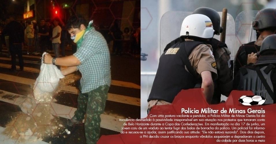 """Com uma postura vacilante e pendular, a Polícia Militar de Minas Gerais foi da truculência desmedida à passividade irresponsável em sua atuação nos protestos que tomaram conta de Belo Horizonte durante a Copa das Confederações. Em manifestação no dia 17 de junho, um jovem caiu de um viaduto ao tentar fugir das balas de borracha da polícia. Um policial foi informado e recusou-se a ajudar, assim justificando sua atitude: """"Ele não estava rezando"""". Dois dias depois, a PM decidiu cruzar os braços enquanto vândalos saqueavam e depredavam o centro da cidade por duas horas e meia"""