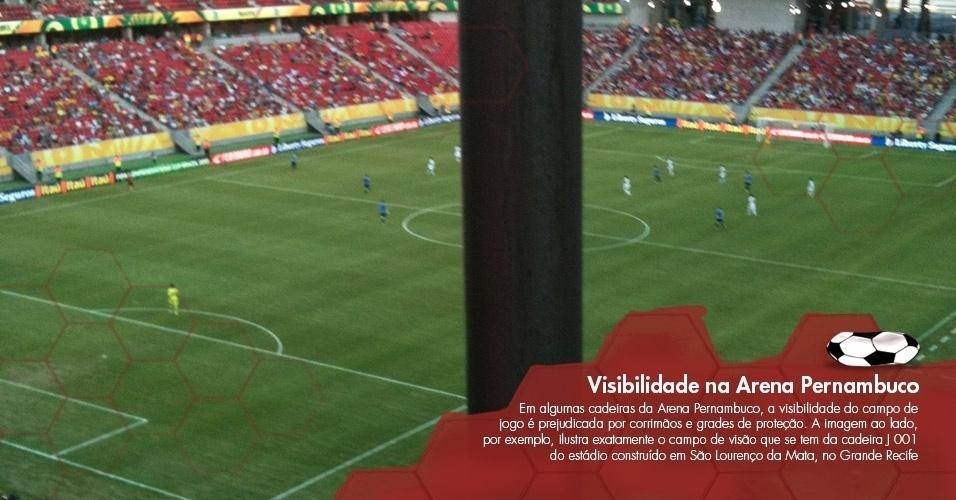 Em algumas cadeiras da Arena Pernambuco, a visibilidade do campo de jogo é prejudicada por corrimãos e grades de proteção. A imagem ao lado, por exemplo, ilustra exatamente o campo de visão que se tem da cadeira J 001 do estádio construído em São Lourenço da Mata, no Grande Recife