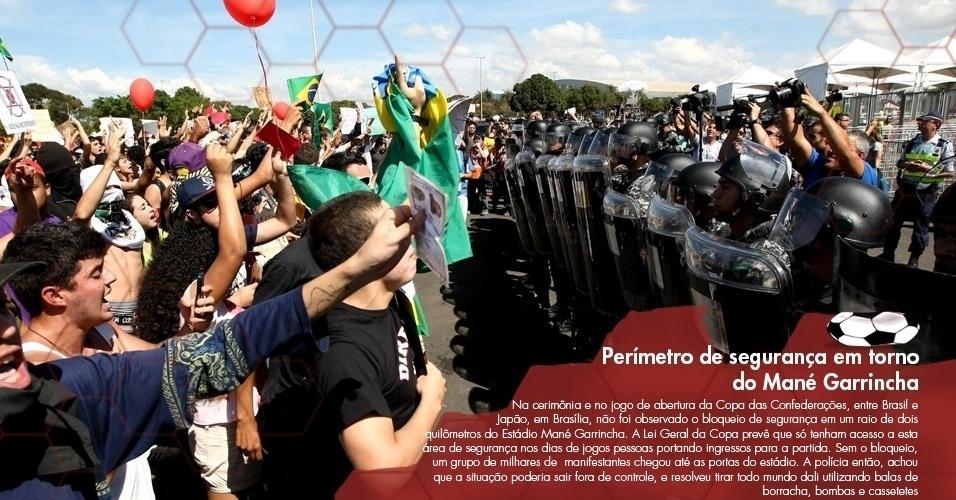 Na cerimônia e no jogo de abertura da Copa das Confederações, entre Brasil e Japão, em Brasília, não foi observado o bloqueio de segurança em um raio de dois quilômetros do Estádio Mané Garrincha. A Lei Geral da Copa prevê que só tenham acesso a esta área de segurança nos dias de jogos pessoas portando ingressos para a partida. Sem o bloqueio, um grupo de milhares de manifestantes chegou até as portas do estádio. A polícia então, achou que a situação poderia sair fora de controle, e resolveu tirar todo mundo dali utilizando balas de borracha, bombas e cassetetes