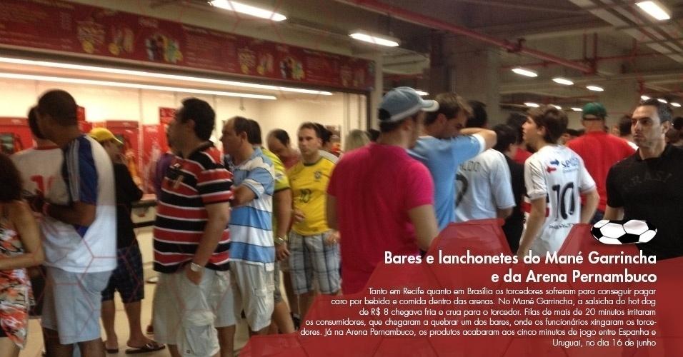 Tanto em Recife quanto em Brasília os torcedores sofreram para conseguir pagar caro por bebida e comida dentro das arenas. No Mané Garrincha, a salsicha do hot dog de R$ 8 chegava fria e crua para o torcedor. Filas de mais de 20 minutos irritaram os consumidores, que chegaram a quebrar um dos bares, onde os funcionários xingaram os torcedores. Já na Arena Pernambuco, os produtos acabaram aos cinco minutos de jogo entre Espanha e Uruguai, no dia 16 de junho