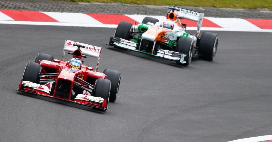 05.jul.2013 - Fernando Alonso e Paul Di Resta participam de segundo treino livre para o Grande Prêmio da Alemanha