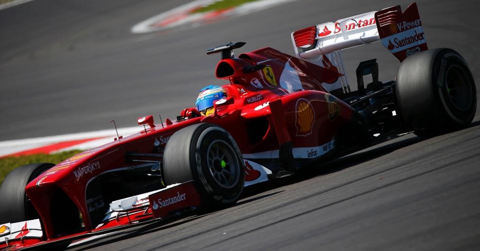 07.jul.2013 - Espanhol Fernando Alonso, em ação durante o Grande Prêmio da Alemanha
