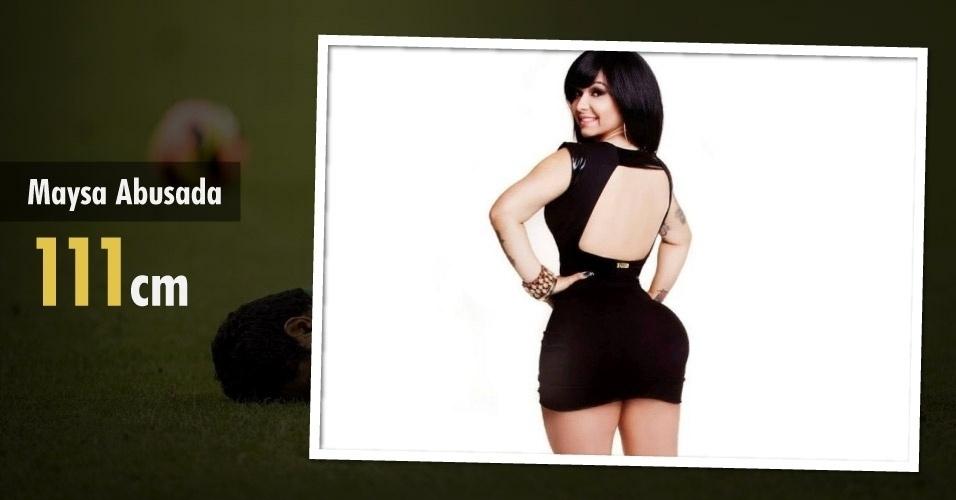 A funkeira Maysa Abusada ganhou fama recentemente com seus 111 cm de bumbum