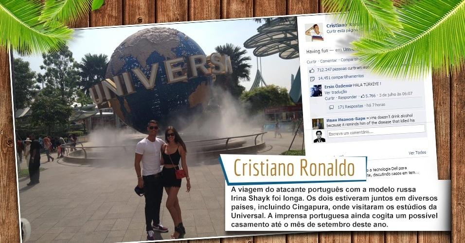 A viagem do atacante português com a modelo russa Irina Shayk foi longa. Os dois estiveram juntos em diversos países, incluindo Cingapura, onde visitaram os estúdios da Universal. A imprensa portuguesa ainda cogita um possível casamento até o mês de setembro deste ano.