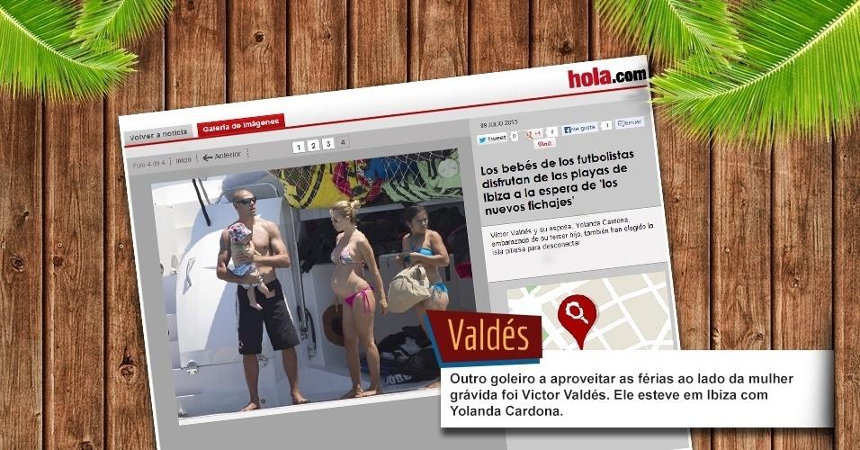 Outro goleiro a aproveitar as férias ao lado da mulher grávida foi Victor Valdes. Ele esteve em Ibiza com Yolanda Cardona.