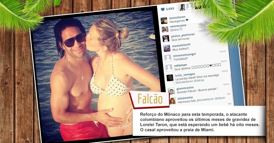 Reforço do Mônaco para esta temporada, o atacante colombiano aproveitou os últimos meses de gravidez de Lorelei Taron, que está esperando um bebê há oito meses. O casal aproveitou a praia de Miami.