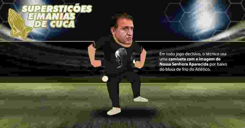 Superstições e manias de Cuca: Em todo jogo decisivo, o técnico usa uma camiseta com a imagem de Nossa Senhora Aparecida por baixo da blusa do Atlético.  - Arte UOL