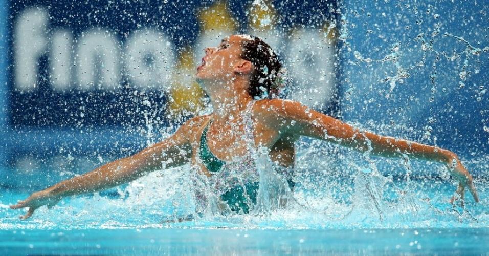 22.jul.2013 - A espanhola Ona Carbonell espirra água durante sua prova na prova de nado sincronizado individual