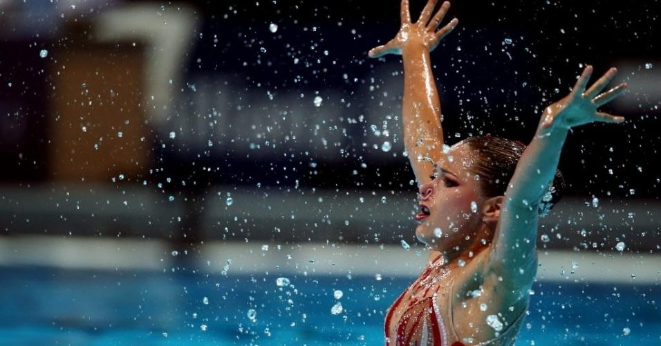 22.jul.2013 - A sueca Malin Gerdin se apresenta no nado sincronizado individual no Mundial de Esportes Aquáticos