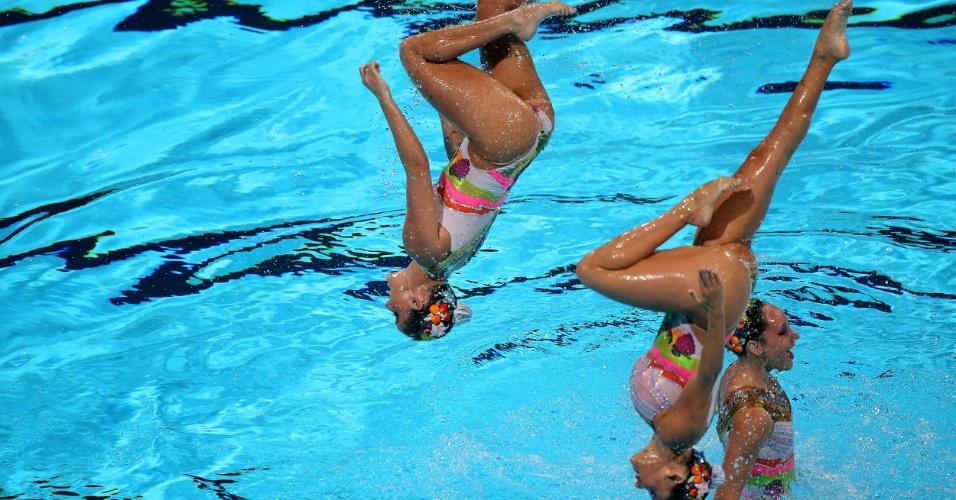 22.jul.2013 - Equipe brasileira de nado sincronizado se apresenta na final técnica do Mundial de Barcelona