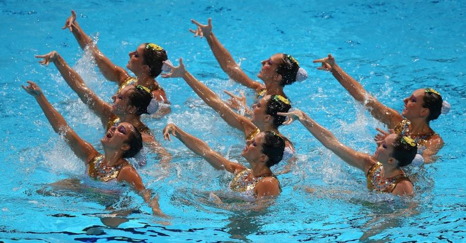 22.jul.2013 - Equipe brasileira de nado sincronizado se apresenta na final técnica do Mundial de Barcelona; time ficou em décimo lugar na final