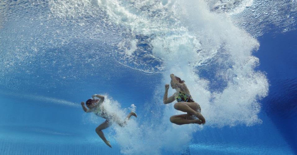22.jul.2013 - Linadini Yasmin e Dewi Setyaningsih, da Indonésia, durante a prova de saltos ornamentais em duplas do Mundial de Esportes Aquáticos