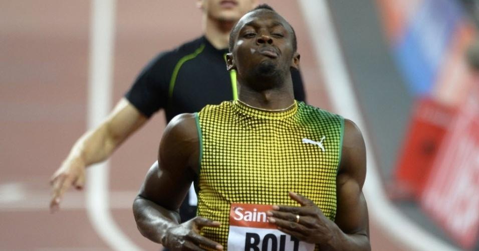 26.jul.2013 - Usain Bolt faz careta após vencer os 100 m rasos na etapa de Londres da Liga de Diamante