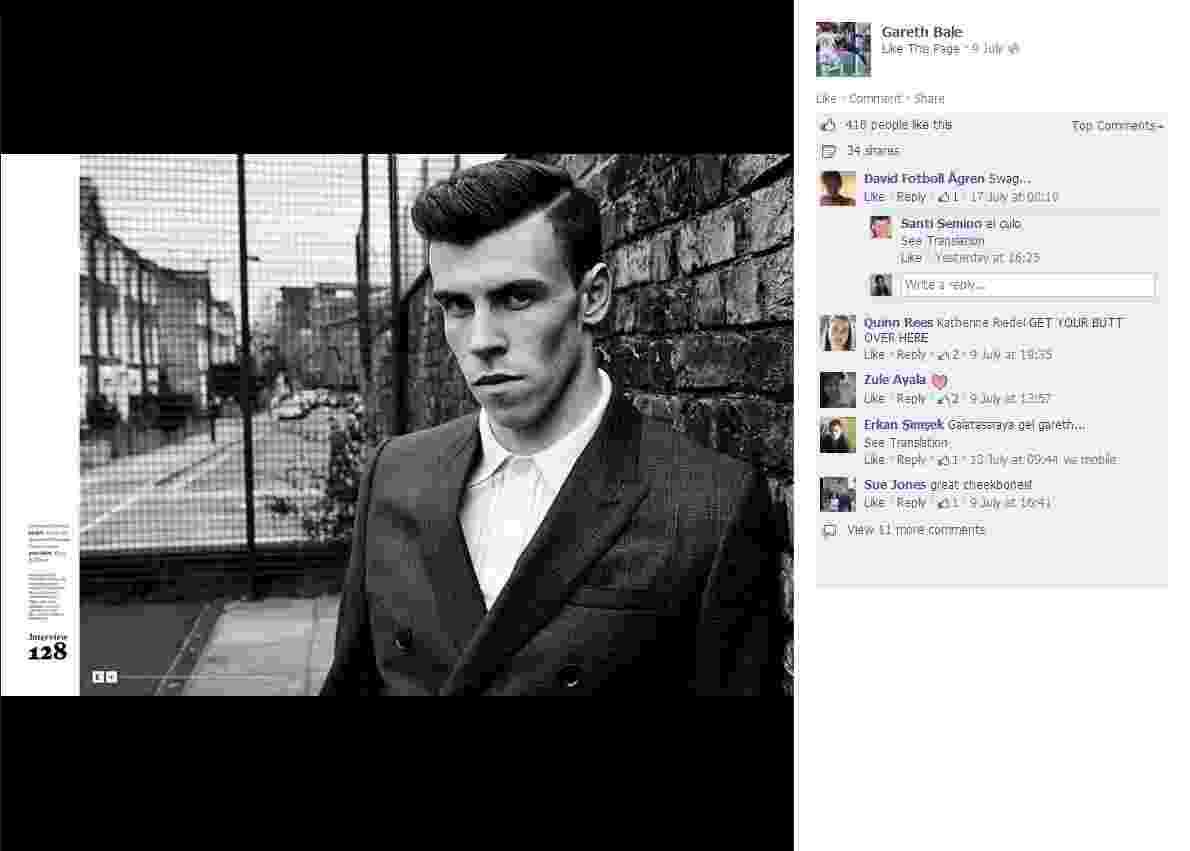 O atacante Gareth Bale, que pode ser o jogador mais caro da história do futebol, posou para ensaio da versão britânica da revista Esquire - Reprodução/Facebook