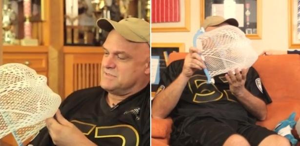 Oscar Schmidt mostra máscara usada na radioterapia para o tratamento de seu câncer no cérebro