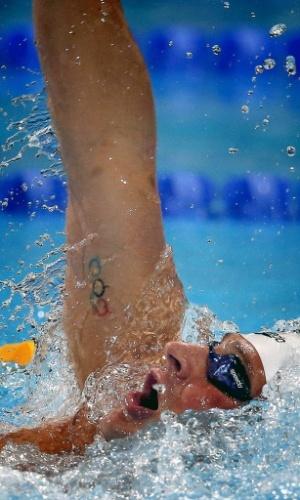 31.jul.2013 - Tatuagem dos anéis olímpicos é vista no braço de Ryan Lochte, dos EUA