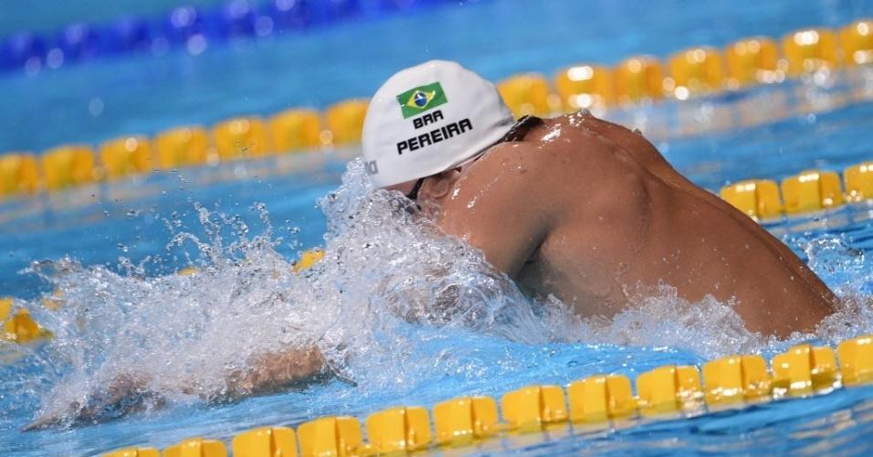 31.jul.2013 - Thiago Pereira durante o nado peito da prova dos 200 m medley do Mundial