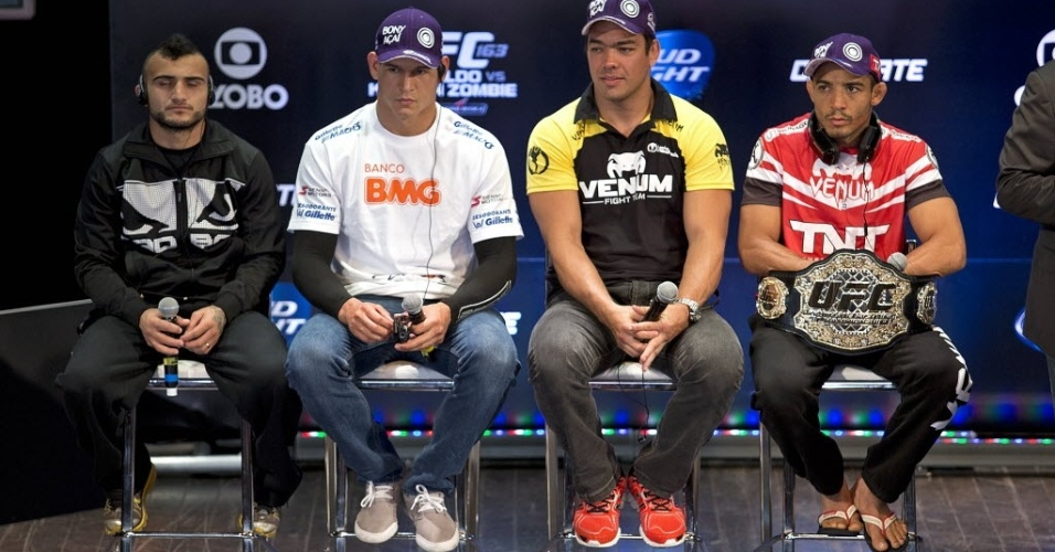 01.ago.2013 - Com seu cinturão dos penas, José Aldo lidera pelotão brasileiro com Lyoto Machida, Cezar Mutante e John Lineker no UFC Rio 4