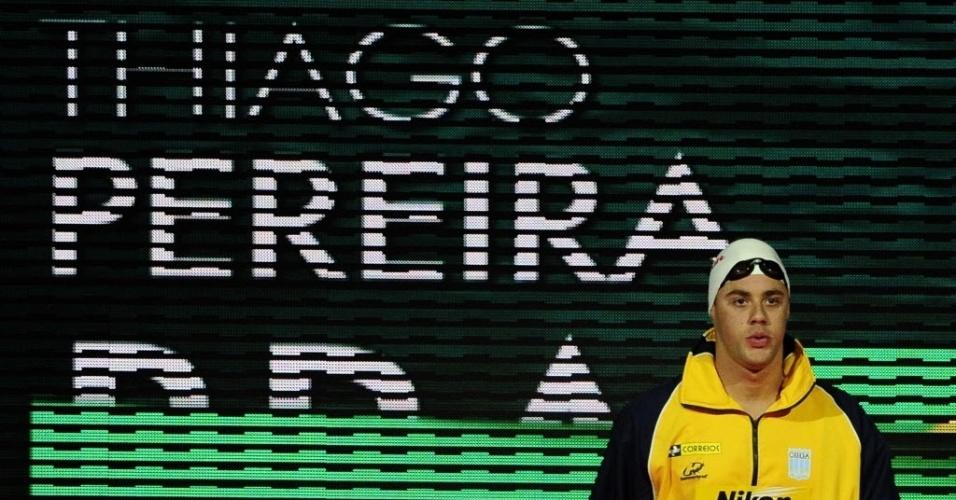 1.ago.2013 - Thiago Pereira é apresentado antes da final dos 200 m medley; ele ficou com o bronze