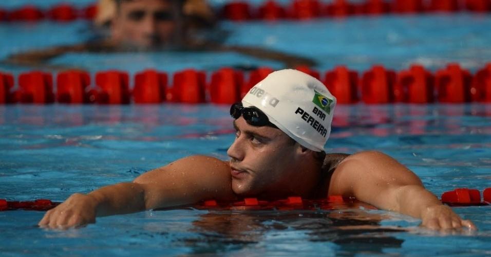 1.ago.2013 - Thiago Pereira faz careta após ficar com o bronze nos 200 m medley; ele perdeu a prata por um centésimo