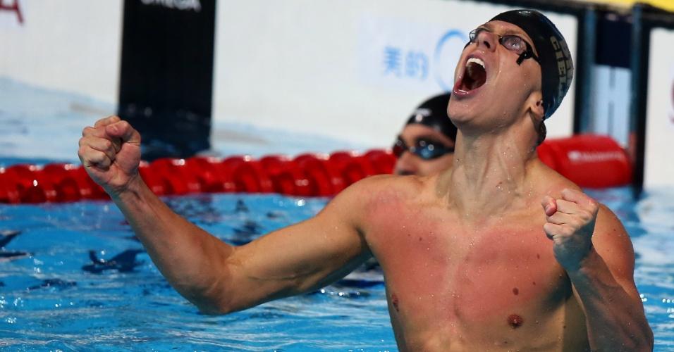 03.ago.2013 - Cielo conquistou o tricampeonato mundial em Barcelona