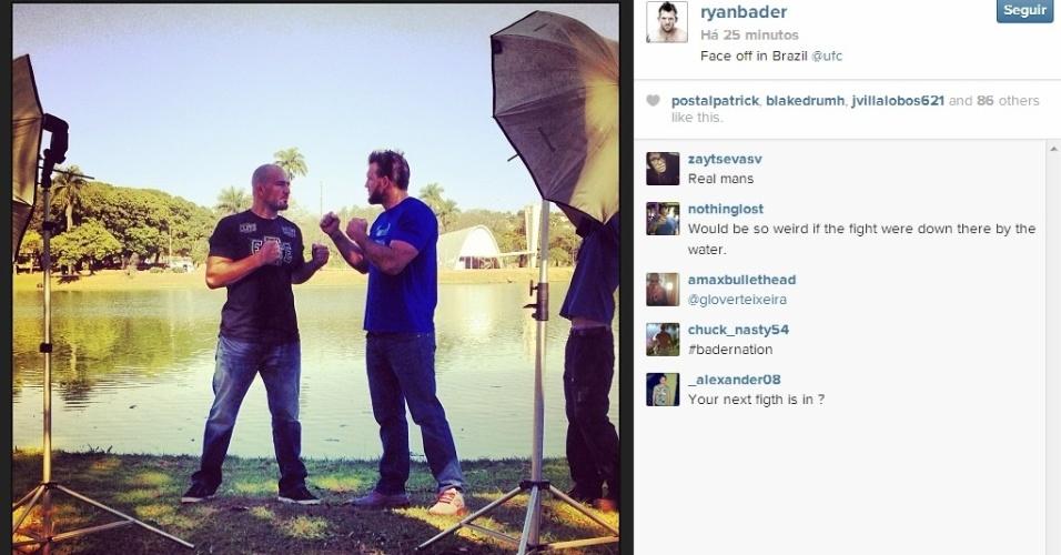 05.ago.2013 - Em Belo Horizonte, meio-pesado brasileiro Glover Teixeira faz sua primeira encarada com o norte-americano Ryan Bader, antes do evento do dia 4 de setembro