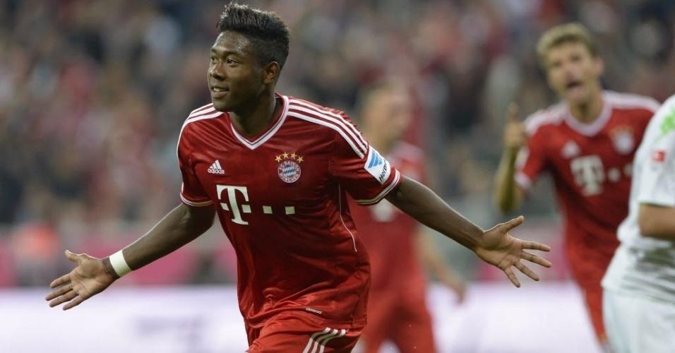 09.ago.2013 - Alaba comemora gol do Bayern de Munique na vitória sobre o Borussia Mgladbach por 3 a 1 na abertura do Campeonato Alemão