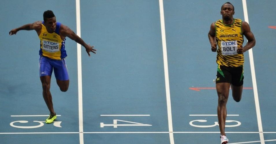 10.08.2013 - Usain Bolt sobra e vence com tranquilidade a sétima bateria das eliminatórias nos 100 m do Mundial de Moscou