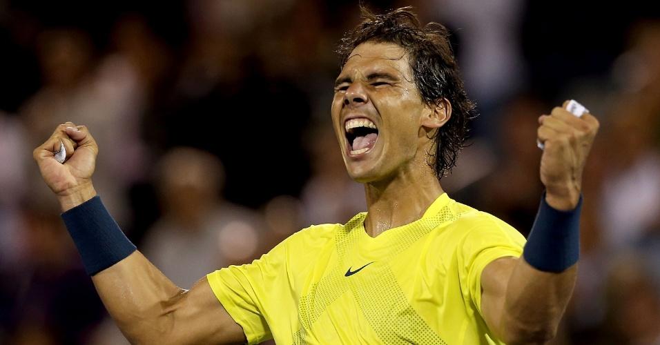 10.08.2013 - Rafael Nadal comemora entusiasmado a vitória sobre Novak Djokovic, na semifinal do Masters 1000 de Montreal