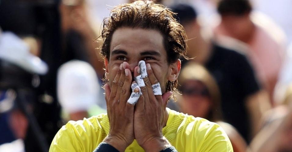 11.08.2013 - Rafael Nadal comemora a vitória sobre Milos Raonic, que lhe rendeu o título do Masters 1.000 de Montréal