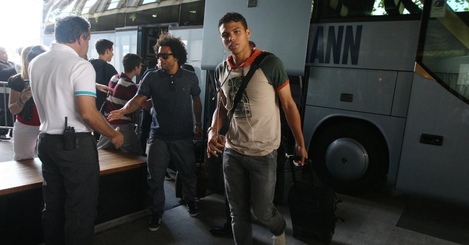 12ago2013 - Thiago Silva, capitão da seleção, se apresenta para jogo com a Suíça