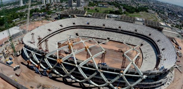 Imagem aérea de obras na Arena Manaus - o projeto para obras de mobilidade urbana na cidade falhou