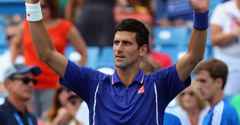 15.ago.2013 - Novak Djokovic comemora vitória sobre o belga David Goffin no Masters 1000 de Cincinnati