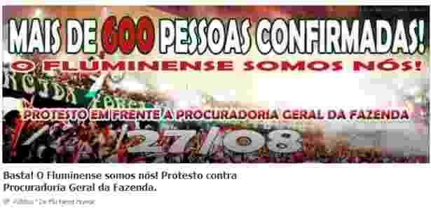 Torcedores do Fluminense convocam protesto contra PGFN por redes sociais - Reprodução/Facebook