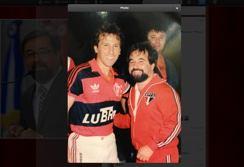 22.08.2013 - Marco Aurélio Cunha, ex-dirigente do São Paulo, em seus tempos de médico no clube, ao lado de Zico, então no Flamengo