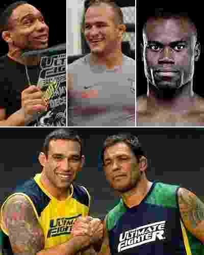 """Lutadores de MMA não precisam ser sisudos, mau humorados ou desrespeitosos. Se parte do show é a provocação, muitos lutadores não ligam para isso e preferem um estilo mais relaxado, simpático, sincero... São os boa-praça do UFC, atletas como Uriah Hall, que no último fim de semana ouviu Dana White dizer que ele não tem """"espírito de lutador"""" e que é bonzinho demais para bater em seus rivais. Veja quem são os outros - Arte UOL, com Divulgação"""