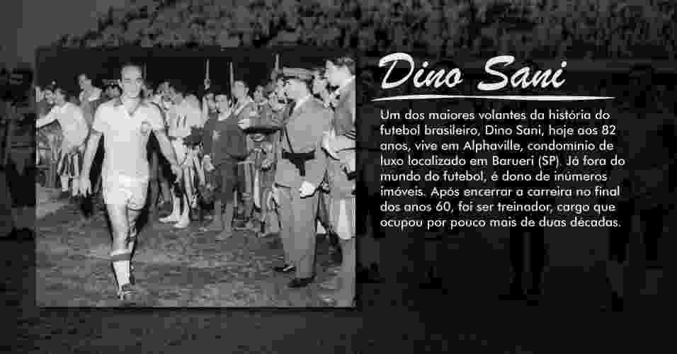 Um dos maiores volantes da história do futebol brasileiro, Dino Sani, hoje aos 82 anos, vive em Alphaville, condomínio de luxo localizado em Barueri (SP). Já fora do mundo do futebol, é dono de inúmeros imóveis. Após encerrar a carreira no final dos anos 60, foi ser treinador, cargo que ocupou por pouco mais de duas décadas - Folhapress