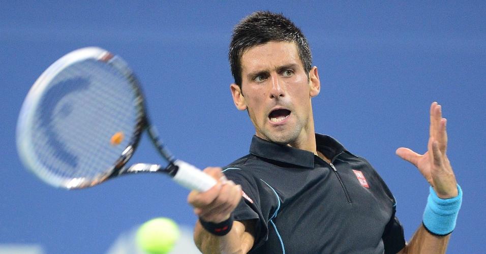 01.set.2013 - Djokovic devolve bola durante partida contra João Sousa no US Open