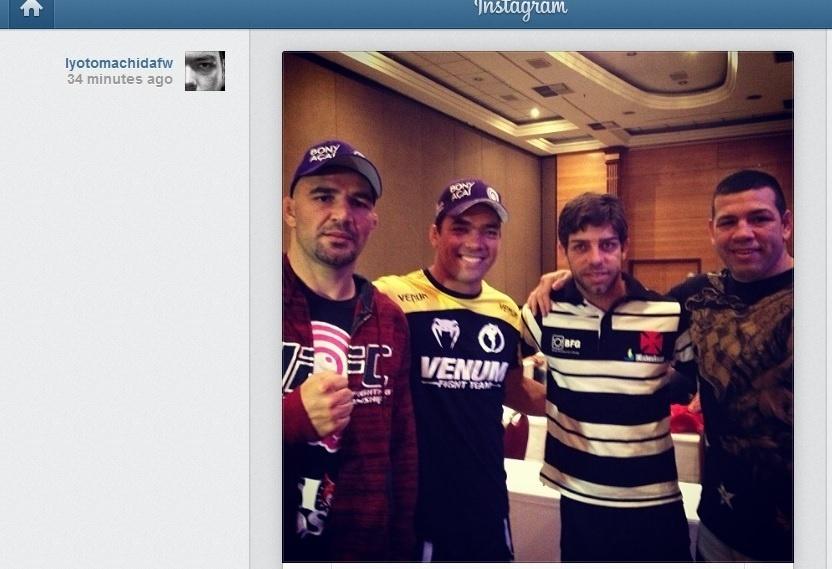 Glover Teixeira, Lyoto Machida, Juninho e Pedro Rizzo em hotel de Belo Horizonte (02/09/2013)
